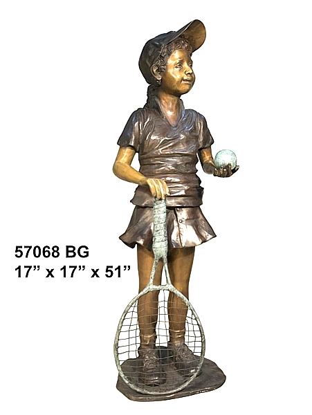 Bronze Girl Tennis Player Statue - AF 57068 BG