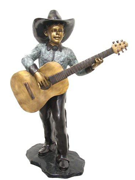 Bronze Cowboy Playing Guitar - AF 57121