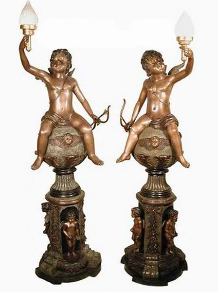 Bronze Cherub Candelabra or Torchiere Light - AF 57135