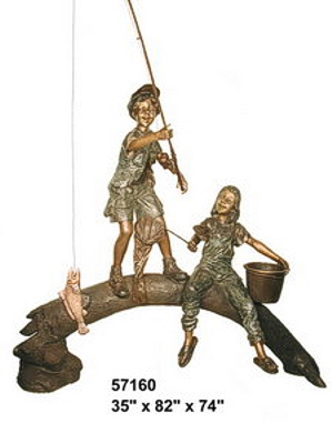 Boy & Girl fishing from log bronze statue - AF 57160