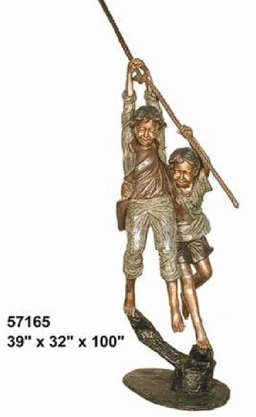 Bronze Boy & Girl on Swing Rope Statue - AF 57165