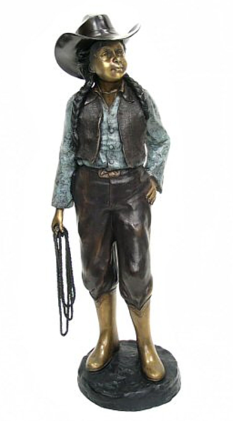 Bronze Cow Girl w/Rope Statue - AF 57200