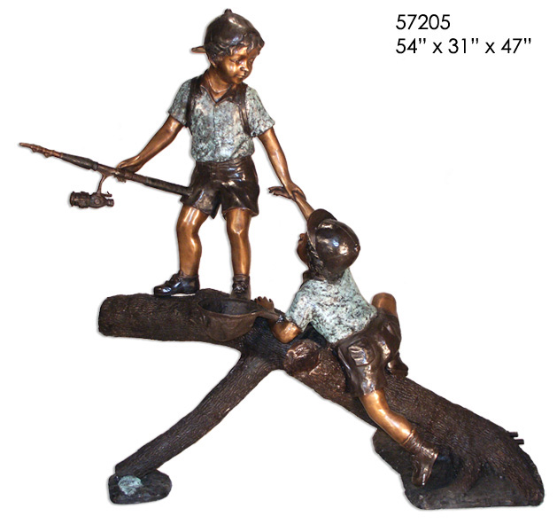 Bronze Boys Fishing on Log Statue - AF 57205
