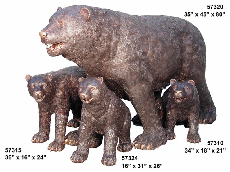 Mother & Cubs Bronze Bear Statues - AF 57310-15-20-24