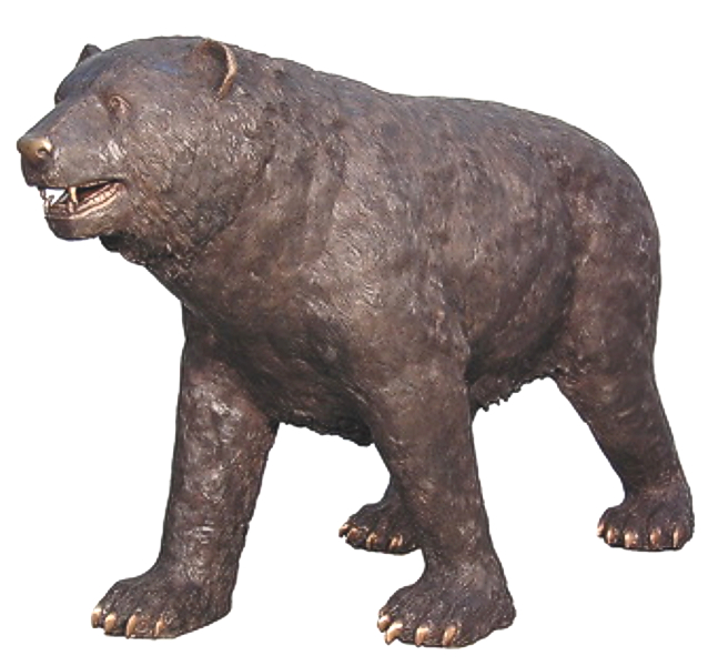 Aggressive Brown Bear Bronze Statue - AF 57320
