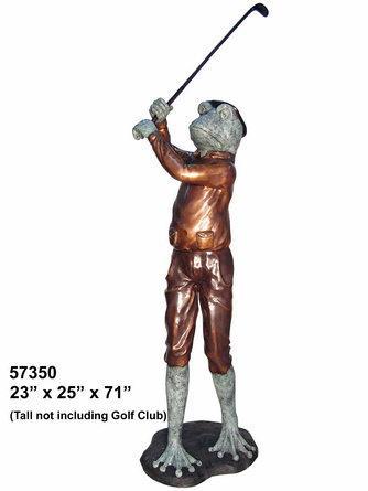 Bronze Frog Golfer Statue - AF 57350
