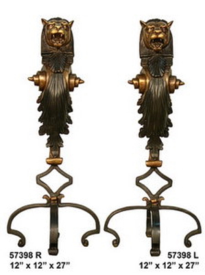 Bronze Lions Andirons - AF 57398