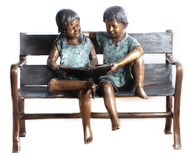 Bronze Children Bench Reading - AF 57627