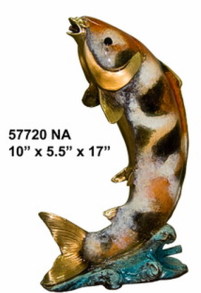 Bronze Jumping Fish Fountain Statue - AF 57720NA