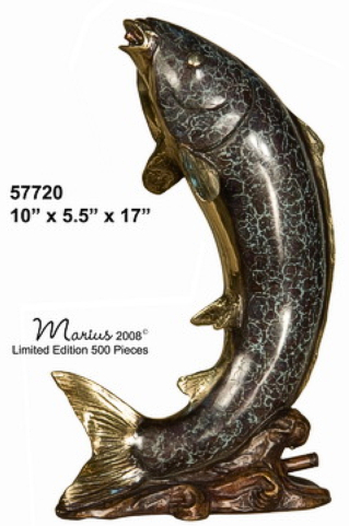 Bronze Jumping Fish Fountain Statue - AF 57720_J
