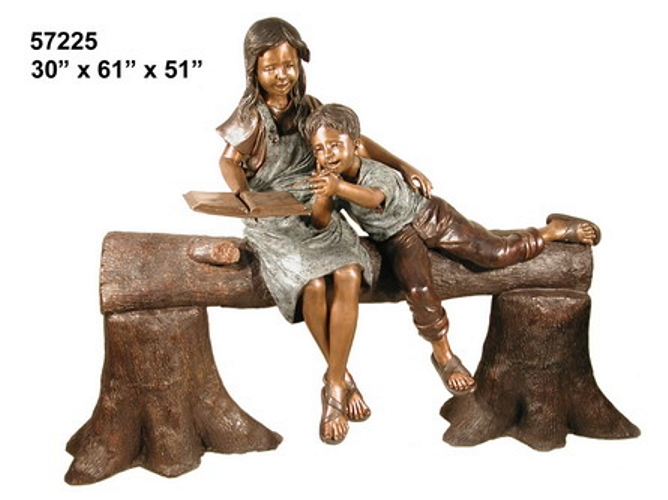 Bronze Children Bench Reading - AF 57225