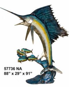 Bronze Sailfish Chasing Bait Fish Statue