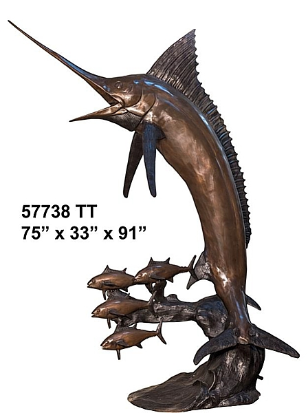 Jumping Marlin Bronze Fountain - AF 57738TT-F