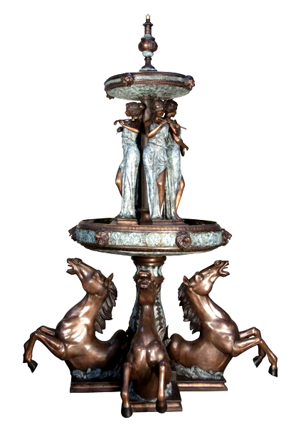 Bronze Ladies and Horse Fountain - AF 57798