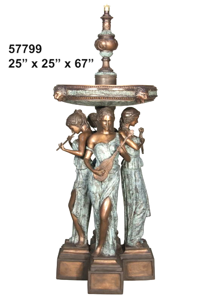 Bronze Musical Ladies & Lions Fountain - AF 57799