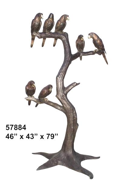 Bronze Birds in Tree Statues - AF 57884
