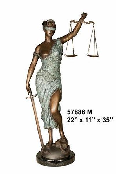 Bronze Blind Justice Statue - AF 57886M