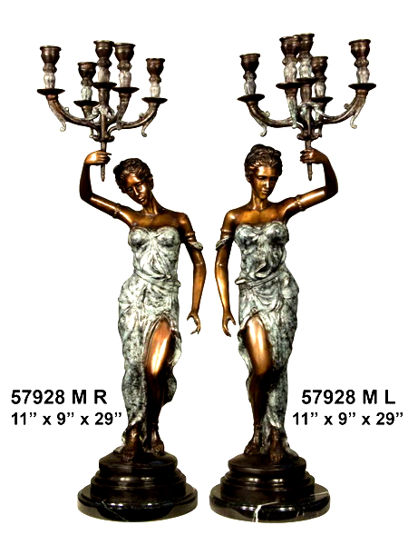 Bronze Ladies Candelabra or Torchiere Lighting - AF 57928M BG