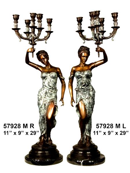 Bronze Ladies Candelabra or Torchiere Lighting