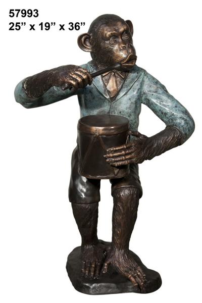 Bronze Monkey Drum Statue - AF 57993