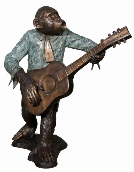 Bronze Monkey Guitar Statue - AF 57998