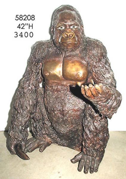 Bronze Gorilla Statue - AF 58208