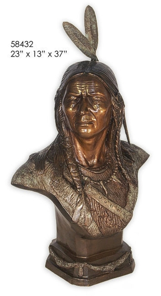 Bronze Indian Warrior Bust - AF 58432