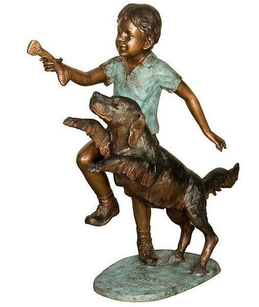 Bronze Boy & Dog Statue - AF 58528