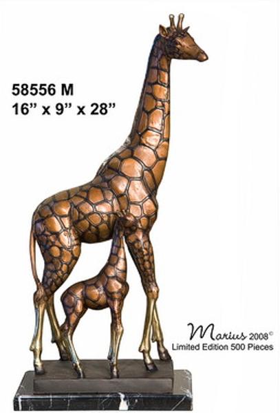 Bronze Giraffe Calf Statues - AF 58556M_J