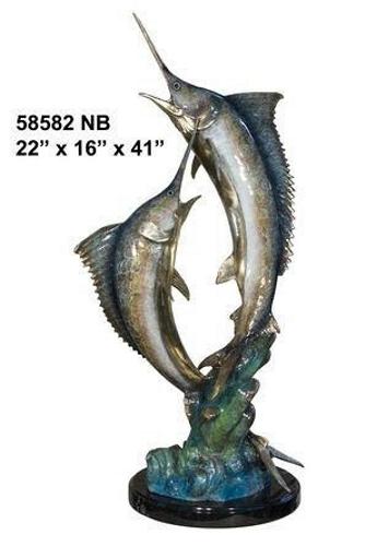 Fighting Bronze Swordfish Statue - AF 58582NB