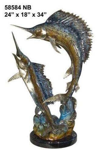Fighting Bronze Swordfish Statue - AF 58584NB