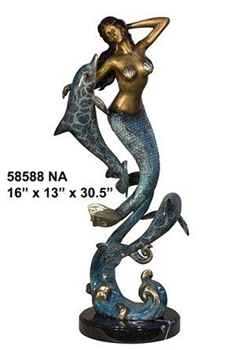 Bronze Mermaid & Dolphin Statue