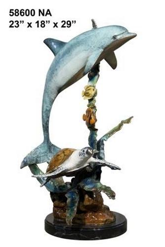 Bronze Dolphin Statue