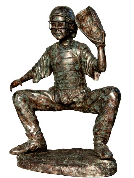 Bronze Baseball Catcher Statue - AF 58634