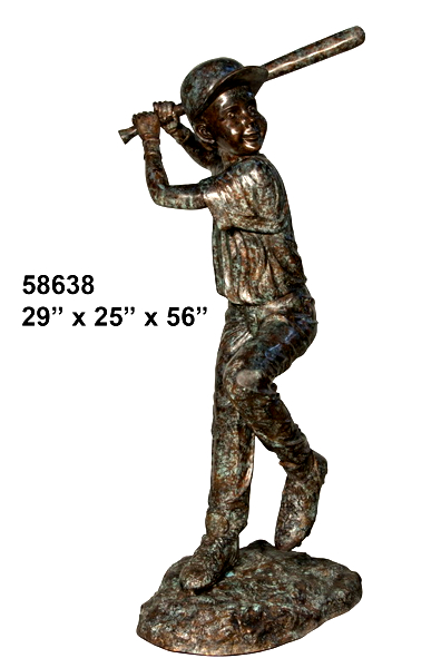 Bronze Baseball Batter Statue