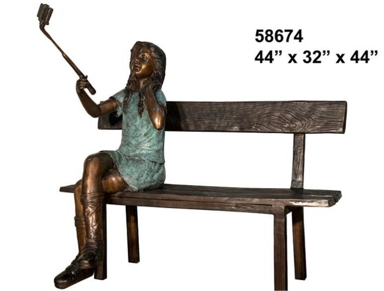 Bronze Girl Taking Selfie Statue - AF 58674