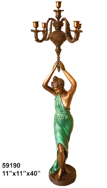Bronze Lady Torchiere Lighting - AF 59190
