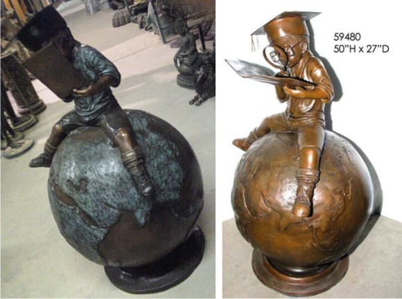 Bronze Boy on Globe Statue - AF 59480