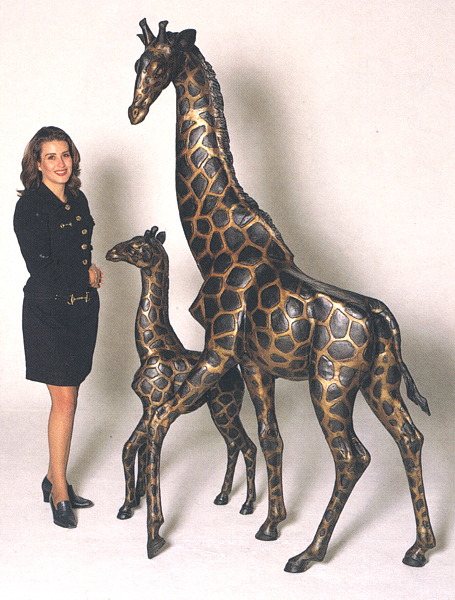 Bronze Giraffe & Calf Statues - ASB 641
