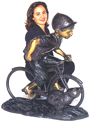 Bronze Boy Riding Bicycle with Dog Statue - ASB 691