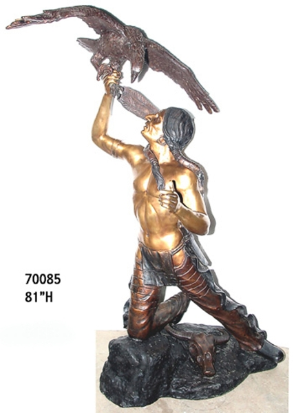 Bronze Indian & Eagle Statue - AF 70085