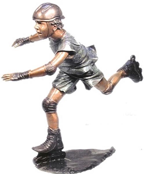 Bronze Kid Rollerblade Statue - AF 71008