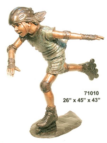 Bronze Kid Rollerblade Statue - AF 71010