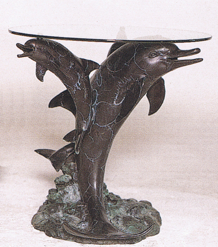 Bronze Three Dolphins Table Base - ASB 728