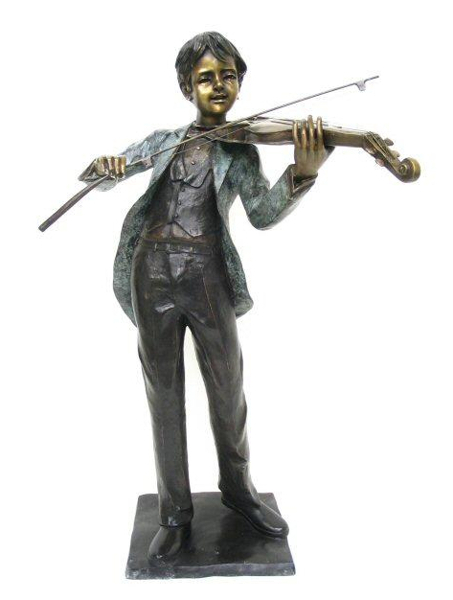 Bronze Boy Playing Violin Statue - AF 74055