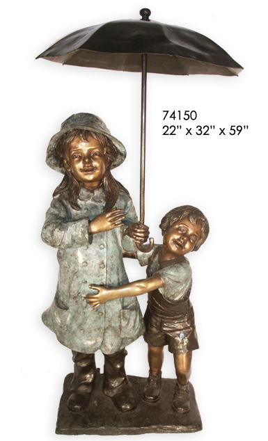 Bronze Kids Umbrella Statue - AF 74150S
