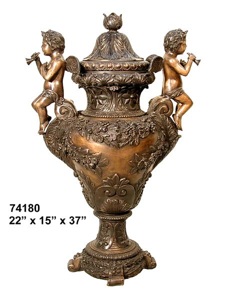 Bronze Detailed Cherubs Urn - AF 74180