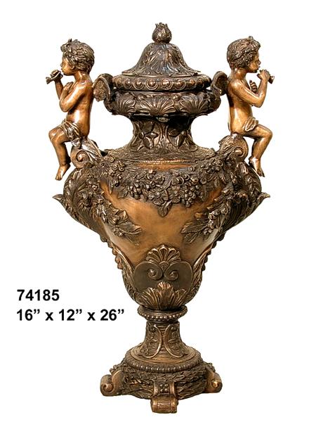 Bronze Detailed Cherubs Urn - AF 74185