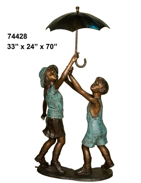 Kids Umbrella Bronze Statue - AF 74428-S