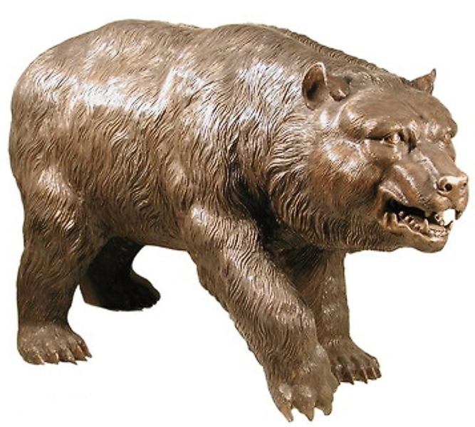 Menacing, Attacking Bronze Brown Bear Statue - AF 75020